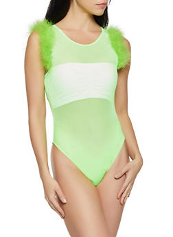 Mesh Feather Trim Bodysuit - NEON LIME - 1307058752546