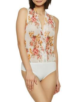Faux Wrap Floral Mesh Bodysuit - 1307058752760