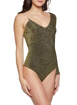 One Shoulder Lurex Bodysuit - 1307058753500