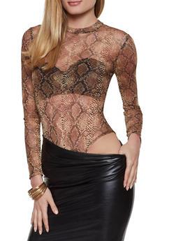 Snake Print Mesh Bodysuit - 1307062413791