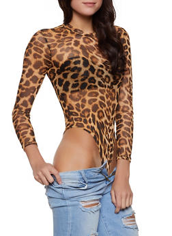 Leopard Mesh Mock Neck Bodysuit - 1307062413792