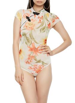 Floral Mesh Bodysuit - 1307074290433