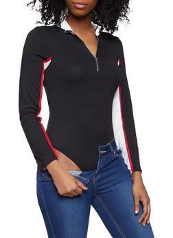 Color Blocked Zip Neck Bodysuit - 1307074290442