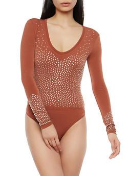 Rhinestone Studded Bodysuit - 1307074290747