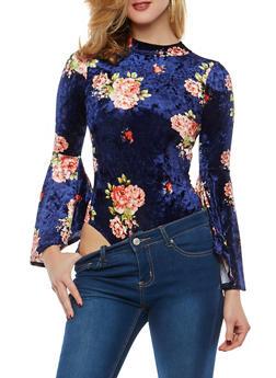 Floral Crushed Velvet Bodysuit - 1307074290749