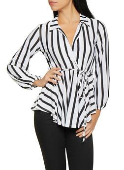 Striped Faux Wrap Overlay Bodysuit - 1307074292100