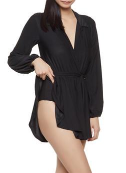 Faux Wrap Overlay Bodysuit - 1307074292101