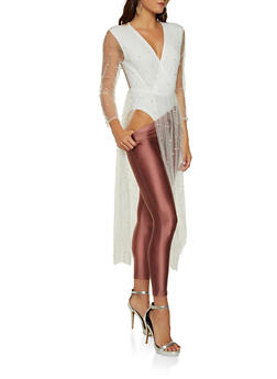Faux Pearl Studded Mesh Overlay Bodysuit - 1307074292466