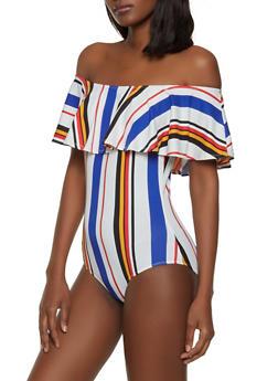 Soft Knit Off the Shoulder Striped Bodysuit - 1307074292470