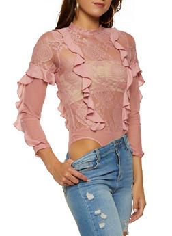 Ruffle Trim Lace Bodysuit - 1307074292822