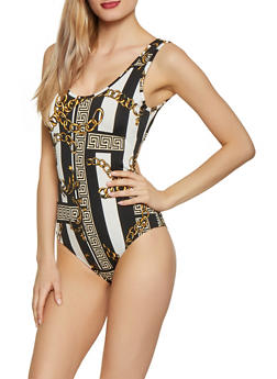 Status Print Cut Out Back Bodysuit - 1307074294131