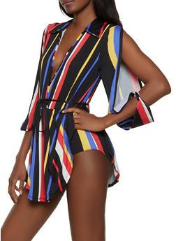 Striped Split Sleeve Faux Wrap Bodysuit - 1307074297126