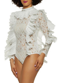 Pleated Detail Lace Bodysuit - 1307074297128