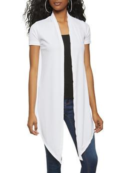 Rib Knit Tie Front Cardigan - 1308038340156