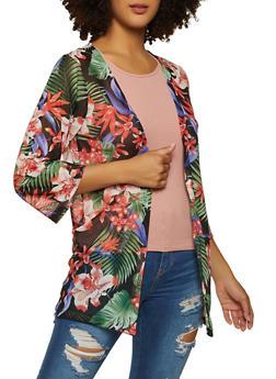 Printed Mesh Kimono - 1308038340314