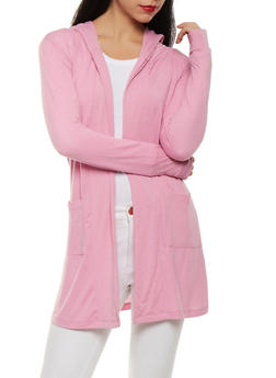 Open Front Hooded Cardigan - 1308038342213