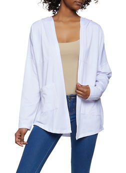 Hooded Open Front Cardigan - 1308038343304
