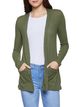 Textured Knit Cardigan - 1308038343320