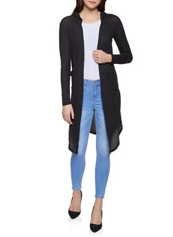 Textured Knit Hooded Duster - 1308038343322