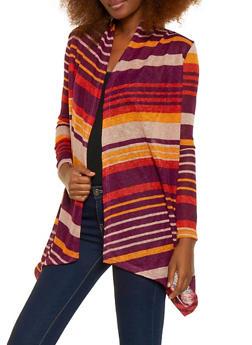 Striped Drape Front Cardigan - 1308038343370
