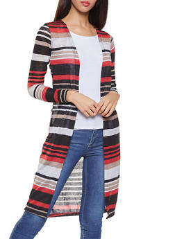 Striped Open Front Duster - 1308038343373