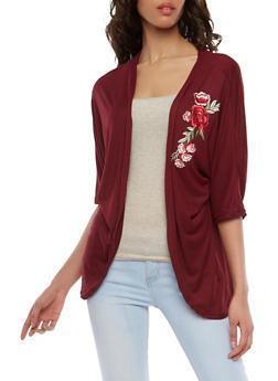Soft Knit Floral Applique Kimono - 1308038348202
