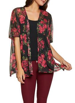 Rose Print Mesh Kimono - 1308038349155