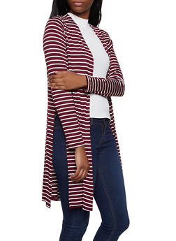 Striped Open Front Cardigan | 1308054261244 - 1308054261244