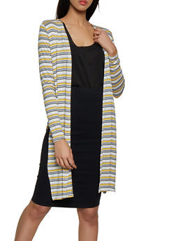 Striped Side Slit Duster - 1308054261245