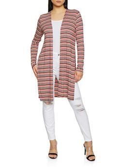 Striped Split Side Cardigan - 1308054261246