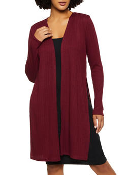 Ribbed Knit Long Sleeve Duster - 1308054261786