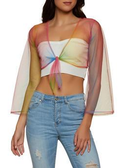 Tie Dye Mesh Long Sleeve Crop Top - 1308058752129