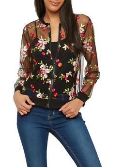 Floral Embroidered Mesh Bomber Jacket - 1308074290109