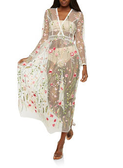 Floral Embroidered Mesh Maxi Top - 1308074290189