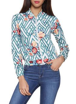 Floral Bomber Jacket - 1308074291860