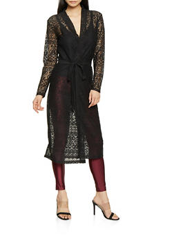 Long Sleeve Belted Lace Duster - 1308074292441