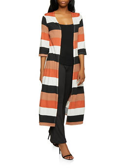 Striped Soft Knit Duster - 1308074292446