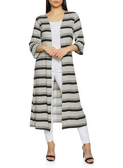 Striped Open Front Duster | 1308074292447 - 1308074292447