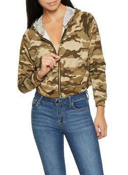 Camo Hooded Cropped Sweatshirt - OLIVE - 1308074292854