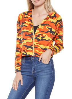 Camo Hooded Cropped Sweatshirt - ORANGE - 1308074292854