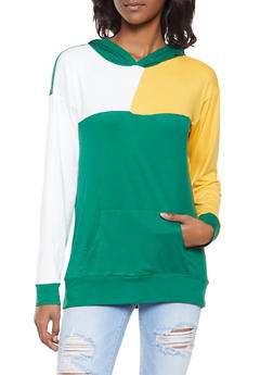 Color Block Soft Knit Hooded Top - 1308074292855