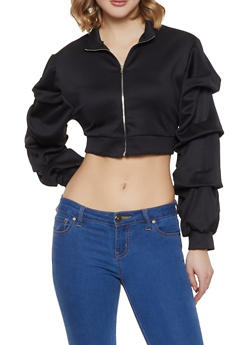 Tiered Sleeve Track Jacket - 1308074292856
