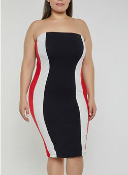 Plus Size Color Block Bodycon Tube Dress - 1390015050128