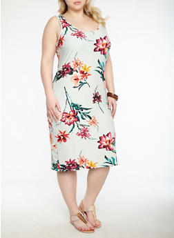 Plus Size Floral Tank Midi Dress - 1390015050384