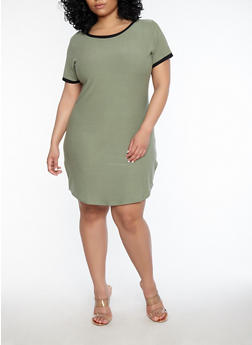 Plus Size Contrast Trim T Shirt Dress - GREEN - 1390015050688