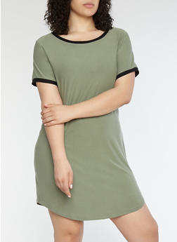 Plus Size Contrast Trim T Shirt Dress - 1390015050688
