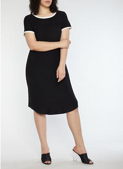 Plus Size Soft Knit Contrast Trim T Shirt Dress - BLACK/MARSHMALLOW - 1390015050689