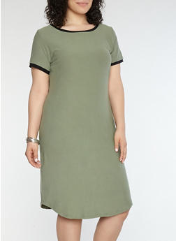 Plus Size Soft Knit Contrast Trim T Shirt Dress - 1390015050689