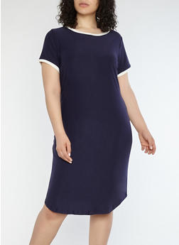 Plus Size Soft Knit Contrast Trim T Shirt Dress - EVENING BLUE/MARSHMALLOW - 1390015050689