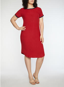 Plus Size Soft Knit Contrast Trim T Shirt Dress - RIO RED/EVENING BLUE - 1390015050689